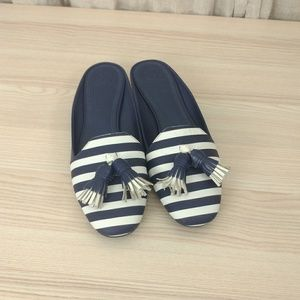 Tory Burch navy and white leather mules